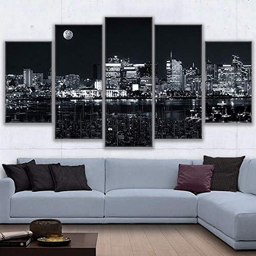 EUFJHS 5-Teilige Leinwand Auf Leinwand Gedruckt Hd Canvas Home Decor for Living Room Wall Art Pictures Los Angeles Nightlife Poster Modern City Nightscape Painting-B Rahmen (In Halloween-festivals Los Angeles)