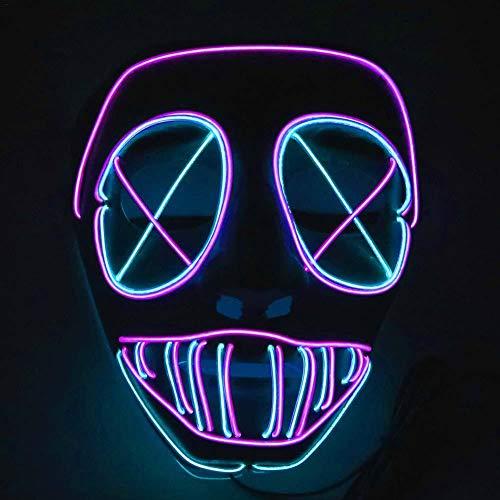 Haunted Karneval Kostüm - Halloween LED Purge Masken, Schreckliches Kostüm Für Halloween Cosplay Karneval Parteien Powered Battery Haunted House Lustige Glow Maske Für Kostümpartys Maskerade Karneval Maskerade, Party