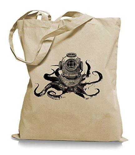 Ma2ca® Octopus Diver - Jutebeutel Stoffbeutel Tragetasche / Bag WM101 Sand