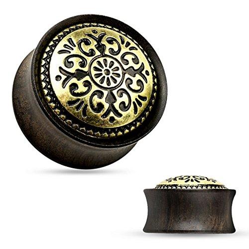 Piercing plug tribal en bois ebony Taille 14 mm