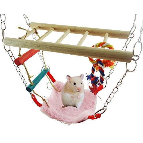 Miss.AJ Treasure-House Hamac & Playbridge ou Gerbille Hamster Cage pour Animal Domestique Jouet Couleur Aléatoire