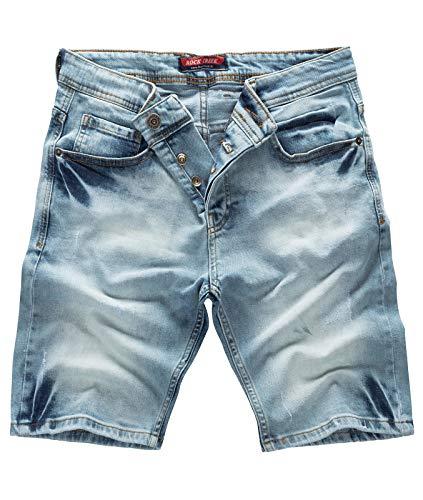 Rock Creek Herren Shorts Jeansshorts Denim Stretch Sommer Shorts Regular Slim [RC-2126 - Light Blue W32] -