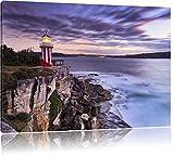 Leuchtturm Format: 100x70 cm auf Leinwand, XXL riesige Bilder fertig gerahmt mit Keilrahmen, Kunstdruck auf Wandbild mit Rahmen, günstiger als Gemälde oder Ölbild, kein Poster oder Plakat