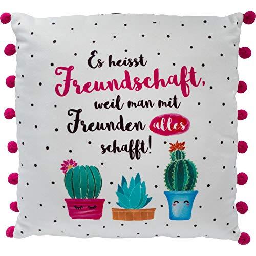 Die Geschenkewelt 46167 kleines Plüschkissen mit Motiv-Druck Es heisst Freundschaft, Kaktus-Design, mit rosa Pompoms, 25 cm x 25 cm Kissen, Bunt,