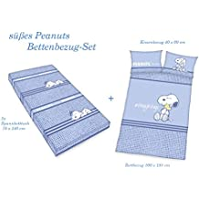 Peanuts parure de lit bébé Lot de 2x Drap Housse + gars Parure de lit Taie d'oreiller 40x 60100x 135cm, 100% coton, bleu
