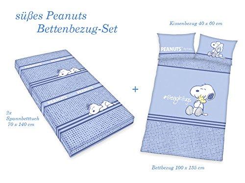 PEANUTS Baby Erstausstattung BETTWÄSCHE-SET 2x Spannbettlaken + Jungs BETTWÄSCHE Kissen 40x60 Bezug 100x135cm, 100% Baumwolle, Blau
