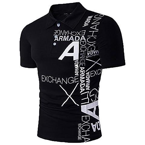 Glestore Homme Polo Shirts Manche Courte Casual T-shirt Mode Chemise (L, Noir-noir)