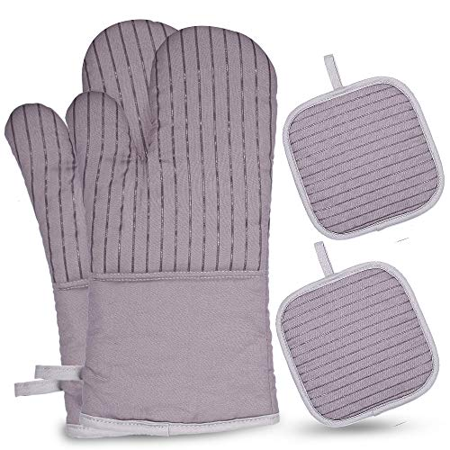 esonmus Ofenhandschuhe, Silikon Lange Topfenhandschuhe Doppel mit 2 Topflappen,Hitzebeständige rutschfeste Backhandschuhe für die Küche die Kochen Backen BBQ (Grey)