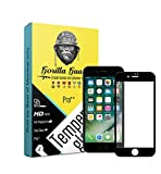 Gorilla guards HD+ black bezled 5D tempered glass screen protector for Apple iPhone 7 4.7inch (PRO++ series) 10H hardness, oelophobic, UV protect, 2.5D rounded edges, neo coated, free instalation kit, BEST DEAL! (04-Black-iphn-7-p++)