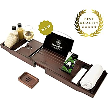 Luxury Bath Tub Tray – Bamboo Wood Bathtub Caddy Rack with Wine Glass Holder & Extending Sides, 2 Wooden Towel Shelves for Accessories, Book Rest (Tablet, iPad, Phone, Kindle), Phone and Candle Stand + FREE Soap Tray for Spa Experience by Blooming Lily