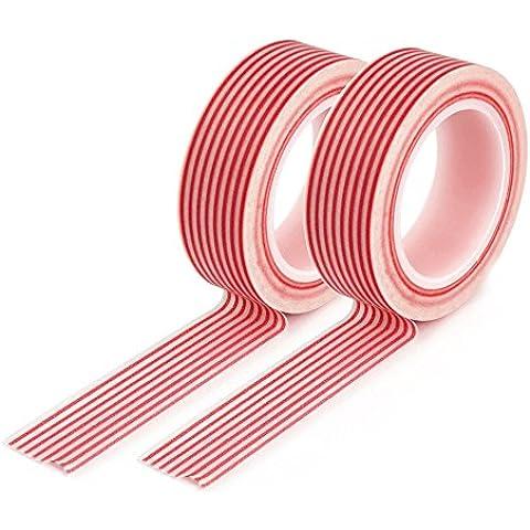 Conjunto de 2YOUZiNGS washi en color rojo con diseño de rayas cinta de carrocero Washi Tape, cinta, YOUZiNGS