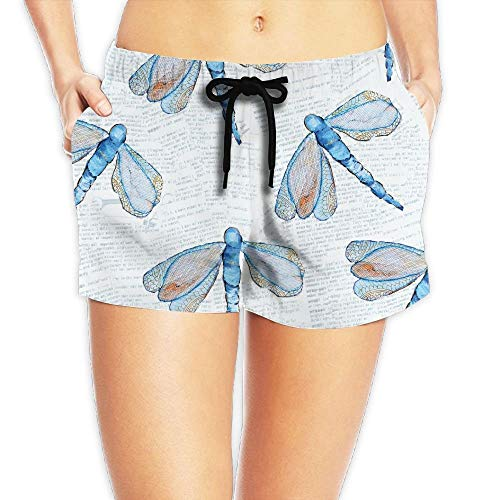 Women's Summer Dragonfly Old Newspaper Casual Boardshorts Bathing Suits Sexy Hot Surfing Trunks Beach Shorts Large - Dragonfly Mädchen T-shirt