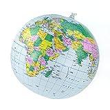 Blauer Globus, aufblasbar, 30cm Durchmesser: Wasserball mit politischem Kartenbild