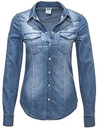 Vero Moda Damen Jeansbluse Denim Jeanshemd