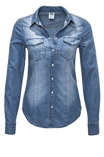VERO MODA Damen Jeansbluse Denim Jeanshemd (XL, Blue Denim)