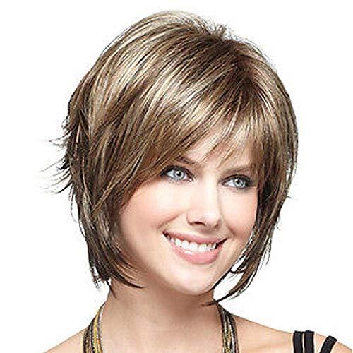 MI REN Kurze flauschige Perücken für Frauen braune Bob Haar Perücke natürlich aussehende hitzebeständige synthetische Mode volle ()