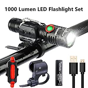 Bike Light Set Super Bright Stepless Dimming USB Rechargeable Waterproof LED Front Lights with Rear Light Easy Install Used as Flashlight Also