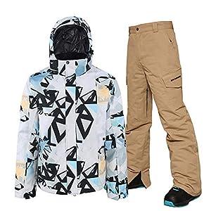 Herren Winter Outdoor Skianzug Snowboard Doppel Skianzug Anzug Jacke Hose Zweiteilig Verdicken Warm Winddicht Wasserdicht Skibekleidung Bergsportanzug Weißes Oberteil + Braune Hose
