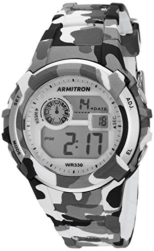 Armitron Sport Unisex 45/7059CGY Digital Grey and Black Camouflage Resin Strap Watch