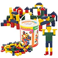 Guilty Gadgets ® 100 Piece Wooden Construction Building Blocks Bricks Toys Kids Colourful Stacking Learning Bricks - In All Sorts of Shapes and Sizes