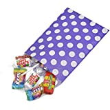 "200 x Purple Polka Dot Sweets / Gift / Party Paper Bags - 7"" x 9"" (18cm x 23cm) Unipack Brand - Unibags"