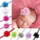 iEFiEL 10 Piezas de Cintas de Cabeza de Flor de Gasa Suave Elástica para Pelo Regalo para Recién Nacido Venda para Bebés 10 Colores