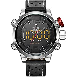 Alienwork LED Analogue-Digital Watch XXL Oversized Wristwatch Multi-function Leather white black OS.WH-5210-1