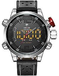 Alienwork Reloj LED Analógico-Digital Multi-función relojes hombre sport XXL Oversized Piel de vaca blanco negro OS.WH-5210-1