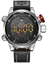 Alienwork LED Analog-Digital Armbanduhr XXL Oversized Uhr Multi-funktion weiss schwarz Leder OS.WH-5210-1