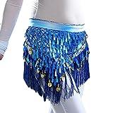 YuanDian Femme Professionnel Tribal Danse Du Ventre Frange Ceinture Chaîne Sequin Foulard Belly Dance Jupe Deguisement De Danseuse Saphir Bleu