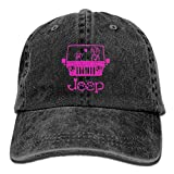 YYERINX Jeep Dog Pink Denim Hat Adjustable Unisex Plain Baseball Cap