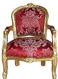 Casa Padrino Barock Kinder Stuhl Bordeauxrot Muster/Gold - Armlehnstuhl - Antik Stil Möbel