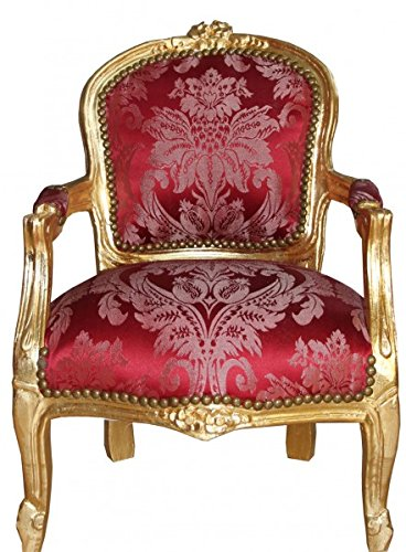 Casa-Padrino Baroque High Chair Burgundy Pattern/Gold - Armchair - Antique Style Furniture
