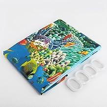Niño Cortina de Ducha Baño Forma de Mar y Peces Decoración Impermeable con Ganchos 180x180cm
