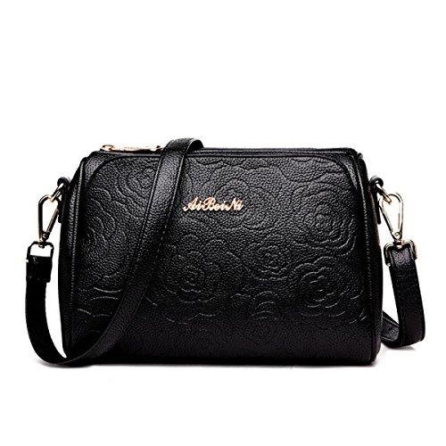 Frauen Damen Handtasche Mode PU Leder Tote Satchel Schulter Messenger Bags Cross-Body Tasche (5 Farben) Black