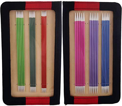 KnitPro KP47402 Knit Pro 20 cm Set de goupilles de Tricotage Doubles Fin en Aluminium Zing, Multi-Couleur, Bois, Multicolore, 20,8 x 0,3 x 5 cm