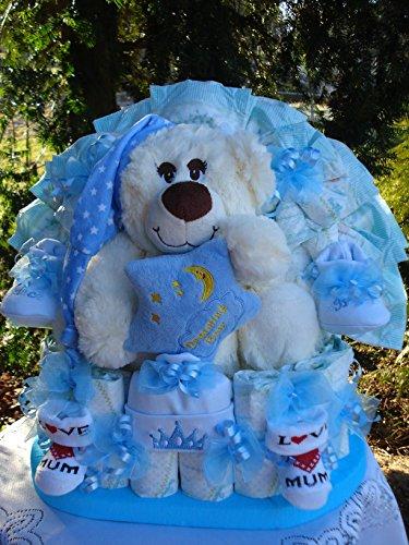 """Windeltorte""""Baby's 1.Teddybär und Babyset""""blau,Geburt,Taufe,Hochzeit!"""
