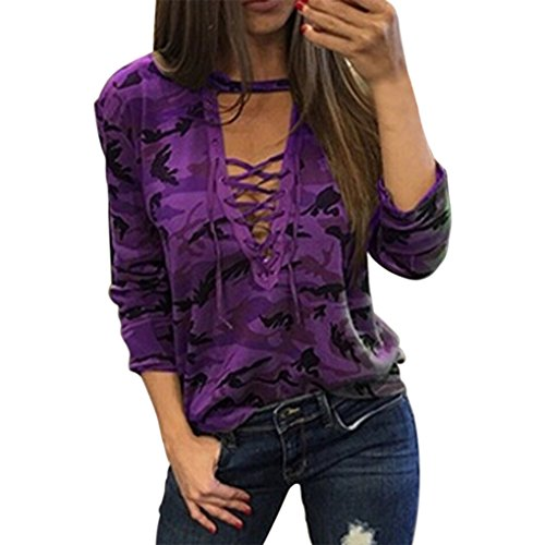 Masterein Camuflaje Imprimir Encaje hasta la camiseta Mujeres manga larga V cuello Tops Bandage Verano Camiseta blusa