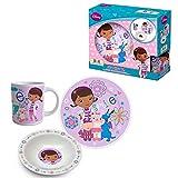 Disney Doc Mcstuffins Frühstücks-Set 3 teilig - Trink-Tasse Trink-Becher Teller Müslischüssel für Kinder Mädchen