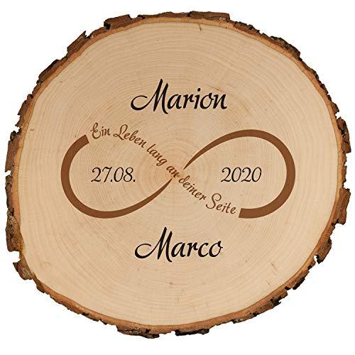 Geschenke 24 Baumscheibe mit Druck zur Hochzeit 15,5 cm mit Unendlichkeitsmotiv - mit Namen + Datum personalisiert - Hochzeitsgeschenke für Brautpaar