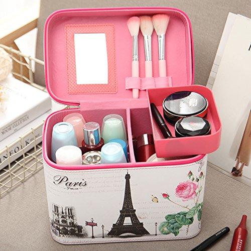 Sac cosmétique cosmétique portable mobile coréen fort dans la boîte de stockage de grande capacité professionnelle portable sac vanity ,tour eiffel,paquet mediumterlayer