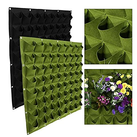 64 Pockets Planting Bags Wall Hanging Gardening Planter Outdoor Indoor Vertical Greening Grow Bags Flower Growing Container ( Color : Black