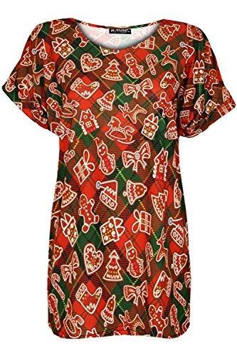 Oops Outlet Damen Weihnachten Weihnachtsmann Rentier Baggy Übergröße Weihnachten Oberteil Gekrempelt T-shirt Kurzärmlig Tartan Süßigkeiten Rot