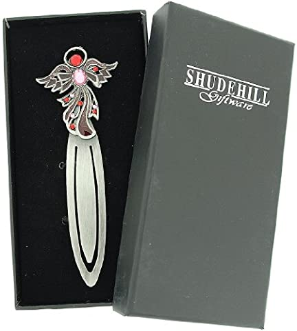 SHJ Jewel Pewter Angel Bookmark - Pink-Red