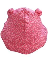 Tangda Chapeau de Soleil Bébé Fille en Forme Mignon Ours Bord Vague Eté Casquette Panama Plage Camping Rose Léopard 9mois-8ans