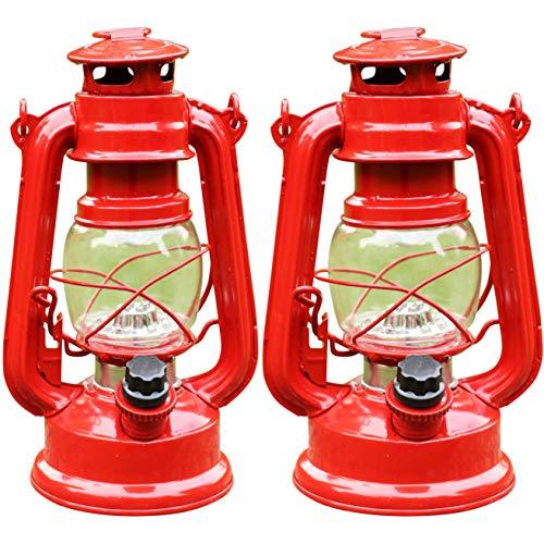 PK Green Set von 2 LED Sturmlampen | Retro Hurricane Laterne Licht + Dimmer | Batteriebetriebene Vintage Öllampe | Dekorativer Tisch/Hängende Laterne für Camping, Garten | rot Green Hurricane