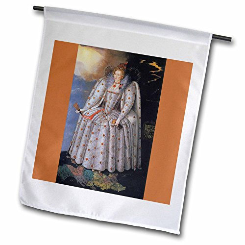 3dRose FL_169916_1 Queen Elizabeth I, C. 1592 by Marcus Gheeraerts The Younger Garden Flag, 12 by 18-Inch