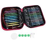 Keesin 13Tailles circulaire kit d'aiguilles à tricoter interchangeables en aluminium Knit pins Définit 2,75–10mm à double pointe avec étui de rangement