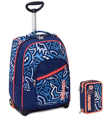 Seven trolley astuccio - blu arancione azzurro - spallacci a scomparsa! zaino 35 lt scuola e viaggio - idea regalo natale