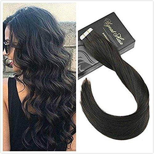 Ugeat Skin Weft Haar Extensions Tressen Tape on #1B Off Black Tape in Extensions Echthaar Tressen 16 Zoll 50 Gramm (Haar-schuss-entferner)